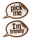 Pick me I`m trendy stickers. Stock Photos