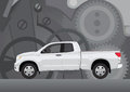 Pick-up truck with background of cogwheels Stock Image
