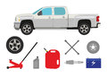 Pick-up truck with group of repair shop elements Royalty Free Stock Photos