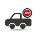 Pick up truck stop road sign design