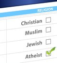 Pick your religion blue survey illustration design Stock Photo
