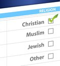 Pick your religion blue survey illustration design Stock Images