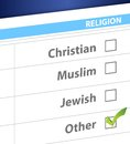 Pick your religion blue survey illustration design Royalty Free Stock Photos