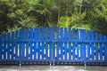Picket fence gate blue with closed Royalty Free Stock Photography