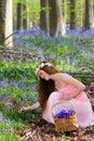 Picking springtime wildflowers Royalty Free Stock Photo