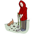 Picking up dog poop an image of man Royalty Free Stock Photo