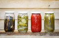 Pickle jars in a row Stock Image