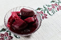 Pickled beets on glass plate Stock Images