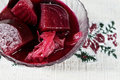 Pickled beets on glass plate Royalty Free Stock Photography