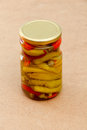 Pickled chilli paprika in jar ready for winter Royalty Free Stock Photo