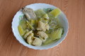 Pickled chinese cabbage with pork entrails and bone soup in bowl the Stock Photography
