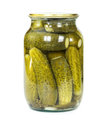 Pickled cucumbers in a glass jar Royalty Free Stock Photo