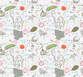 Pickled cucumbers seamless pattern ingredients for pickling Stock Image