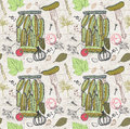 Pickled cucumbers seamless pattern ingredients for pickling Stock Images