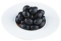 Pickled olives in white plate Royalty Free Stock Photo