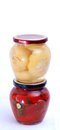 Pickled paprika pic of jars Royalty Free Stock Photos