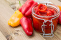 Pickled Paprikas in a glass Royalty Free Stock Images