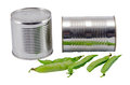 Pickled preserve pease tin can pot fresh one shell Royalty Free Stock Photo