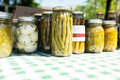Pickled vegetables and eggs at farmers market various outdoor Stock Images