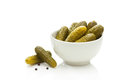 Pickled vegetables green gherkins with black pepper Stock Image
