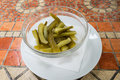 Pickles served in glass bowl Royalty Free Stock Image