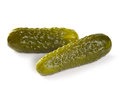 Pickles on white background photo of two isolated Royalty Free Stock Photos