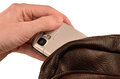 Pickpocketing of a mobile phone Royalty Free Stock Photo