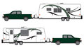 Pickup and camper trailer green pulling camp Stock Image