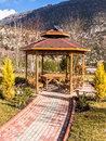 Picnic area in the mountains and gardens with mountain view Royalty Free Stock Photo