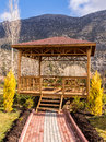 Picnic area in the mountains and gardens with mountain view Stock Images
