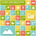 Picnic and barbecue flat icons on colorful square buttons. Royalty Free Stock Photo