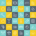 Picnic and barbecue line icons over colorful square buttons. Royalty Free Stock Photo