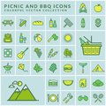 Picnic and barbecue modern colored icons. Vector. Royalty Free Stock Photo