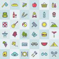Picnic and barbecue modern colorful icons. Vector. Royalty Free Stock Photo