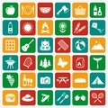 Picnic and barbecue white flat icons.Vector set. Royalty Free Stock Photo