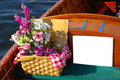 Picnic basket in an antique bo Stock Images