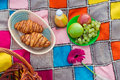 Picnic basket with bread grapes and flowers color plaid Royalty Free Stock Photography