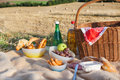 Picnic basket and different food and drinks on straw field Royalty Free Stock Images