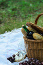 Picnic basket and food in forest Stock Photos