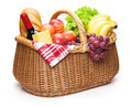 Picnic basket with food isolated on the white background clipping path included Stock Photography