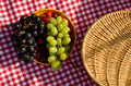 Picnic basket and fruits Stock Images