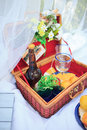 Picnic basket - fruits, bread and wine