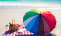 Picnic basket with fruits by the ocean Royalty Free Stock Photo