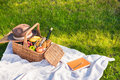 Picnic basket with fruits and wine, hat and notebook with pencil on grass Royalty Free Stock Photo