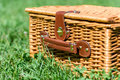 Picnic basket hamper with leather handle in grass green Stock Images