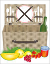 Picnic basket an illustration of a with food and utensils Royalty Free Stock Photography