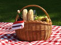 Picnic basket prepared for the in the park Royalty Free Stock Image
