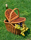 Picnic basket with ripe grape bottle of wine on the grass h green Stock Photo