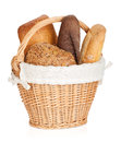 Picnic basket with various bread isolated on white background Stock Photography