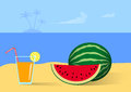 Picnic on the beach big watermelon and cocktail Royalty Free Stock Images